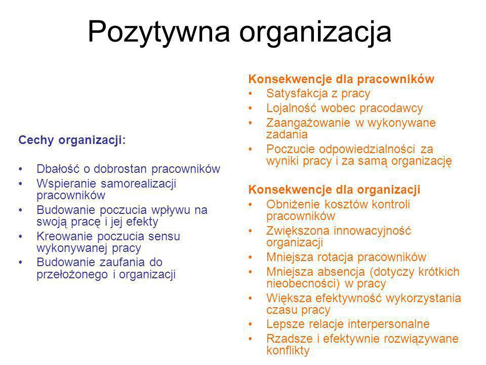 Pozytywna organizacja Cechy organizacji: Dbałość o dobrostan pracowników Wspieranie samorealizacji pracowników Budowanie poczucia wpływu na swoją prac
