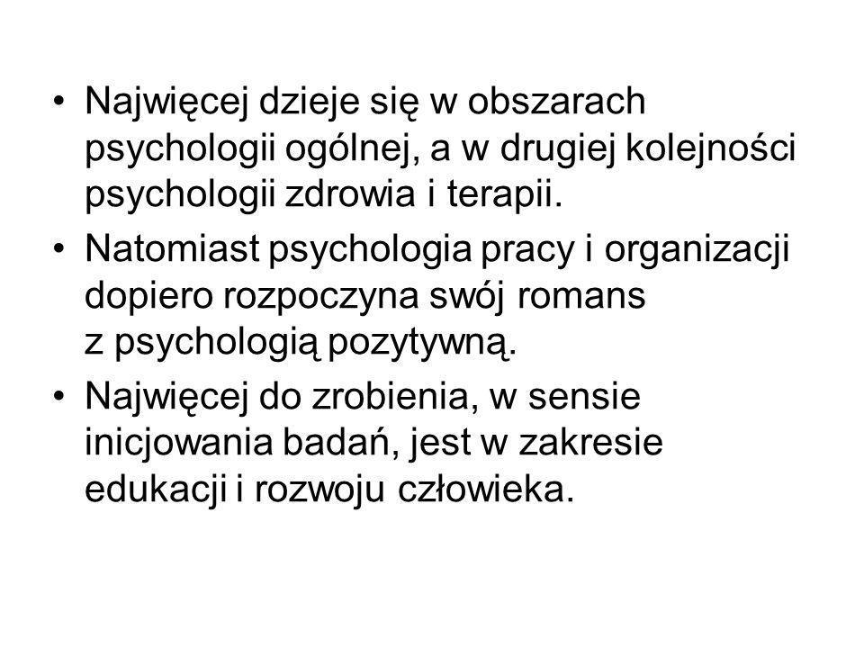 Badania prowadzone w Polsce Zasoby osobiste (cechy)Stany subiektywneObszary zastosowań -Inteligencja emocjonalna -Kreatywność -Nadzieja -Optymizm -Samokontrola -Psychiczna sprężystość, -Motywacja osiągnięć -Szczęście -Poczucie sensu (życia, pracy) -Poczucie własnej wartości -Poczucie własnej skuteczności -Poczucie kontroli -Satysfakcja z życia -Satysfakcja z pracy -Wysoka jakość relacji interpersonalnych -Wzrost potraumatyczny -Edukacja dzieci i młodzieży -Terapia -Promocja zdrowia -Funkcjonowanie zawodowe człowieka -Funkcjonowanie społeczne w skali mikro (rodzina i bliscy), oraz w skali makro (grupy i społeczności)