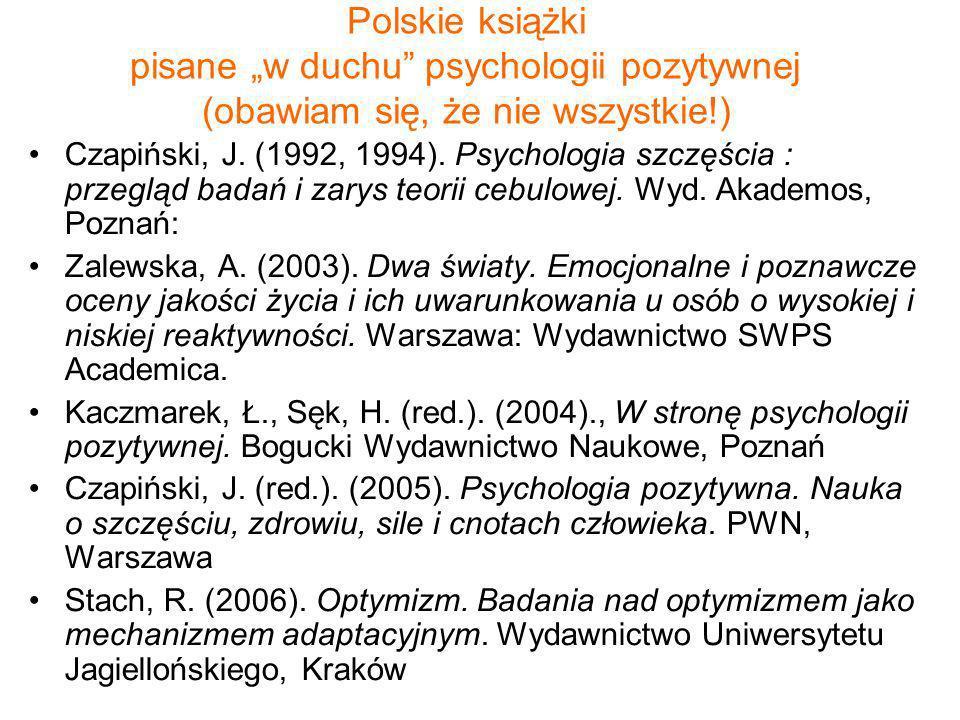 Polskie książki pisane w duchu psychologii pozytywnej (obawiam się, że nie wszystkie!) Czapiński, J. (1992, 1994). Psychologia szczęścia : przegląd ba