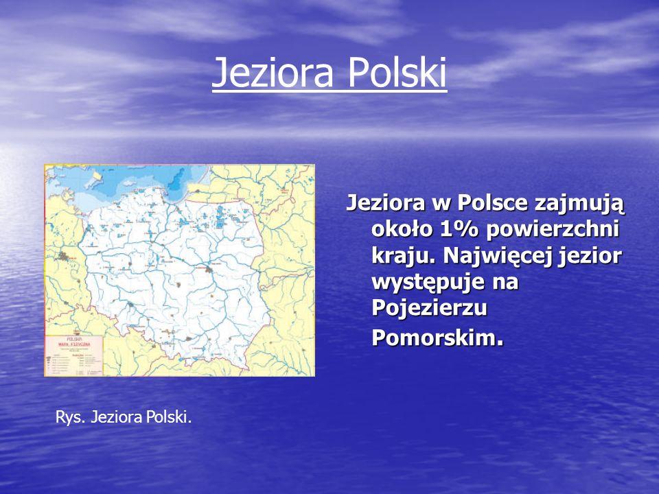 Jeziora Polski Jeziora w Polsce zajmują około 1% powierzchni kraju. Najwięcej jezior występuje na Pojezierzu Pomorskim. Rys. Jeziora Polski.