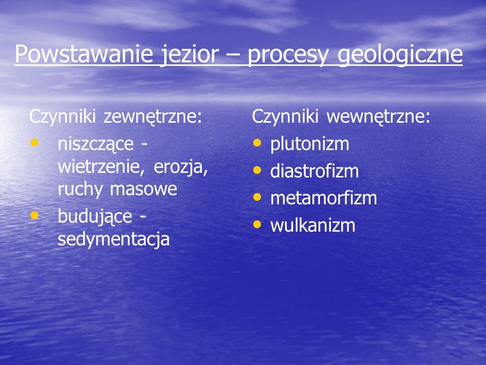 Powstawanie jezior – procesy geologiczne Czynniki zewnętrzne: niszczące - wietrzenie, erozja, ruchy masowe budujące - sedymentacja Czynniki wewnętrzne