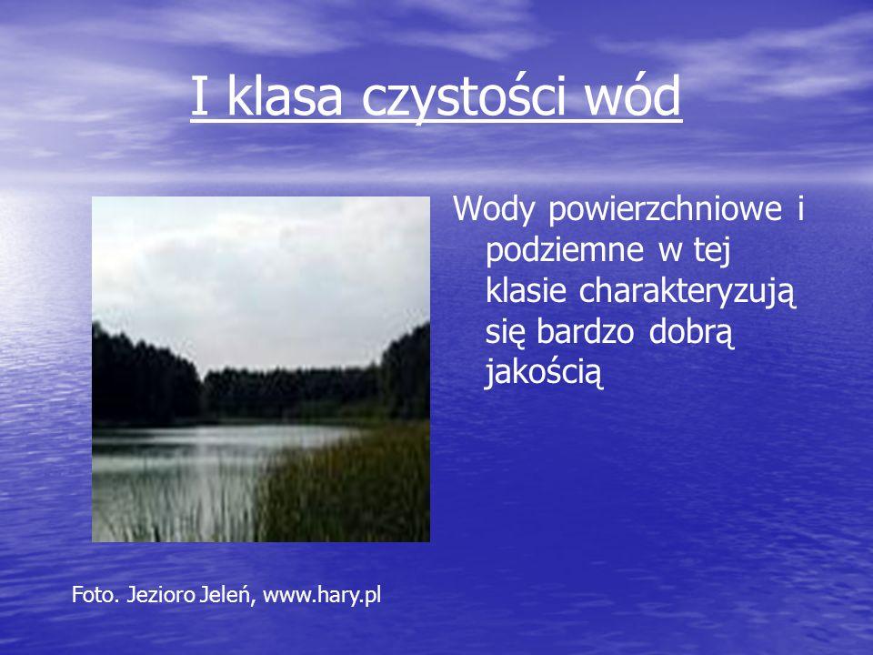 I klasa czystości wód Wody powierzchniowe i podziemne w tej klasie charakteryzują się bardzo dobrą jakością Foto. Jezioro Jeleń, www.hary.pl