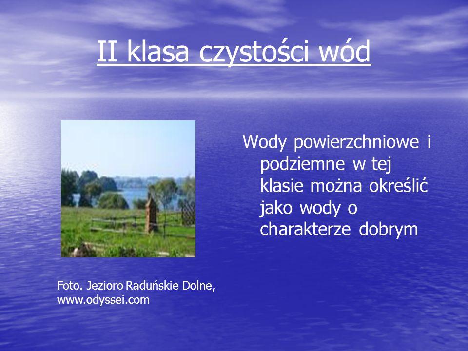 II klasa czystości wód Wody powierzchniowe i podziemne w tej klasie można określić jako wody o charakterze dobrym Foto. Jezioro Raduńskie Dolne, www.o
