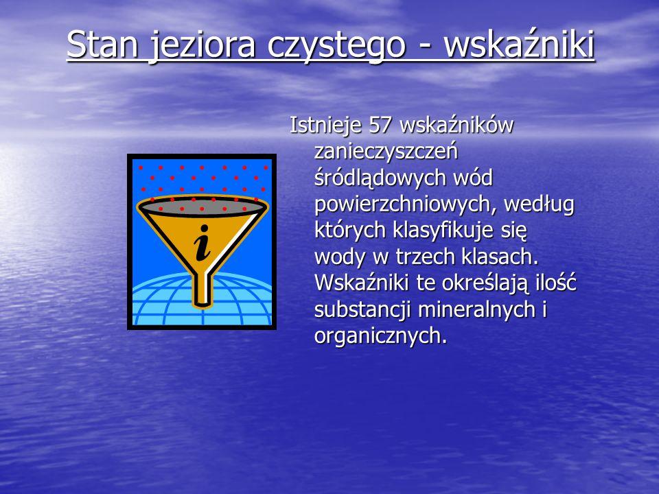 Stan jeziora czystego - wskaźniki Istnieje 57 wskaźników zanieczyszczeń śródlądowych wód powierzchniowych, według których klasyfikuje się wody w trzec