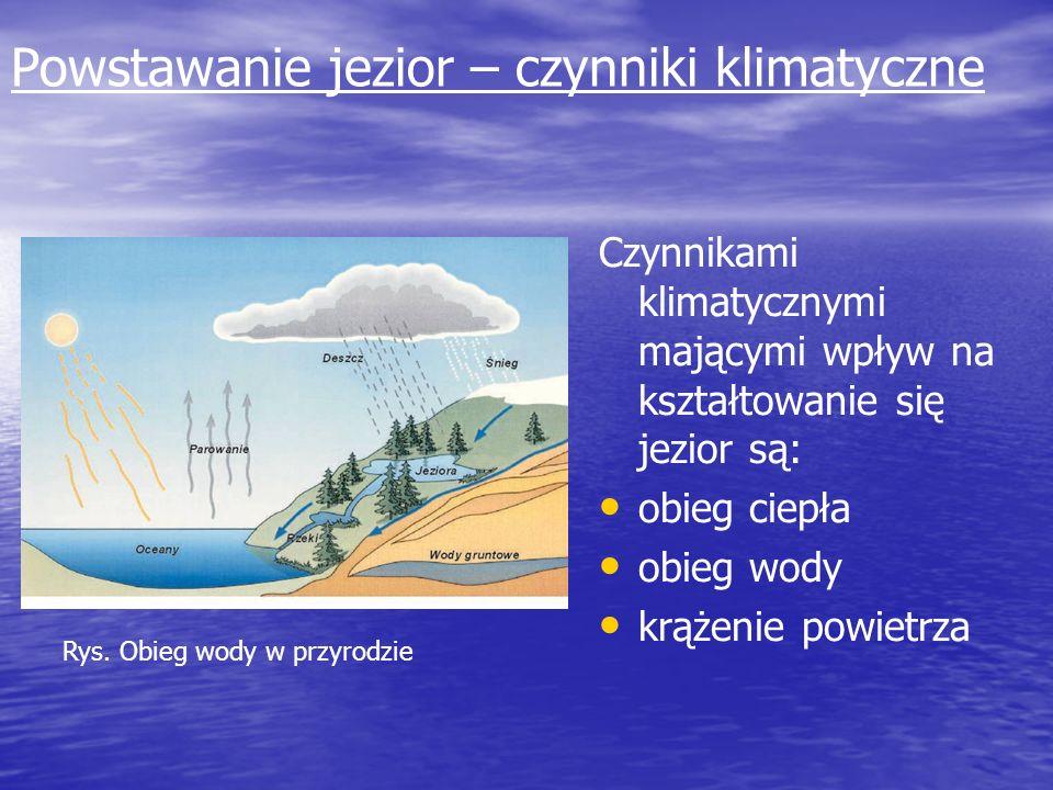 Powstawanie jezior – czynniki klimatyczne Czynnikami klimatycznymi mającymi wpływ na kształtowanie się jezior są: obieg ciepła obieg wody krążenie pow