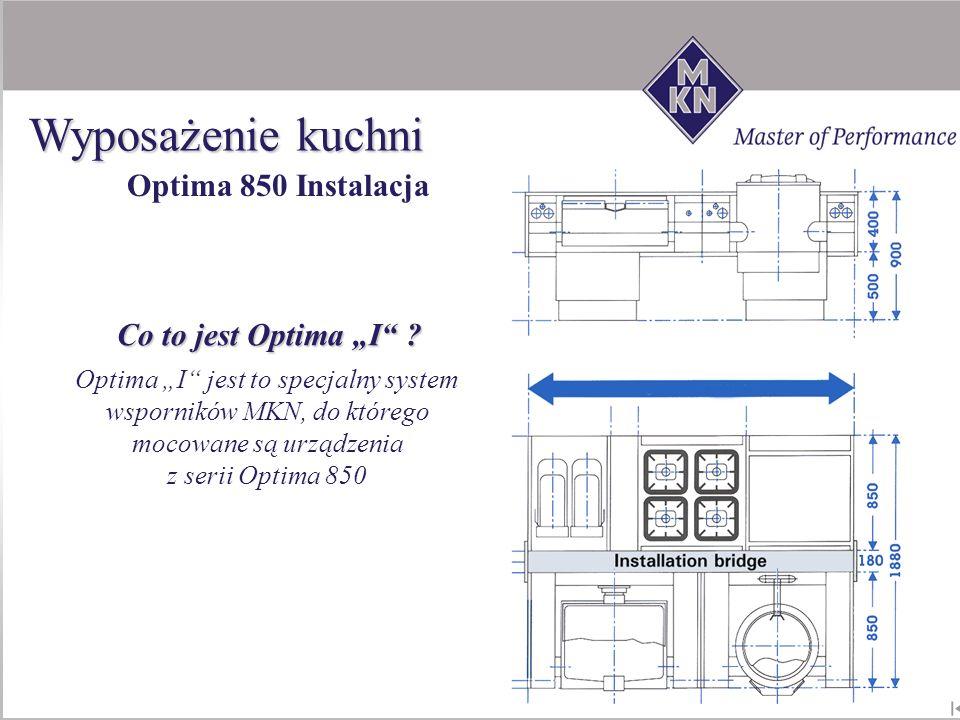 Co to jest Optima I ? Optima I jest to specjalny system wsporników MKN, do którego mocowane są urządzenia z serii Optima 850 Optima 850 Instalacja Wyp
