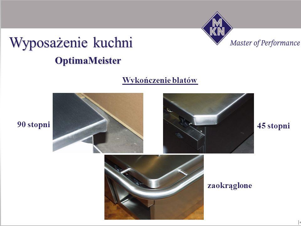 90 stopni zaokrąglone 45 stopni Wykończenie blatów A,B,C B,C OptimaMeister Wyposażenie kuchni