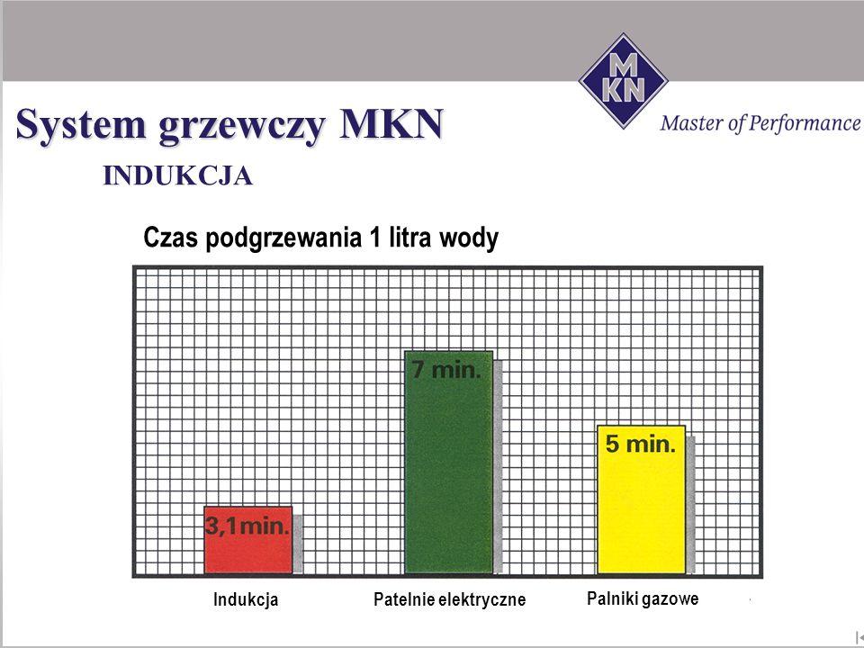 INDUKCJA System grzewczy MKN IndukcjaPatelnie elektryczne Palniki gazowe Czas podgrzewania 1 litra wody