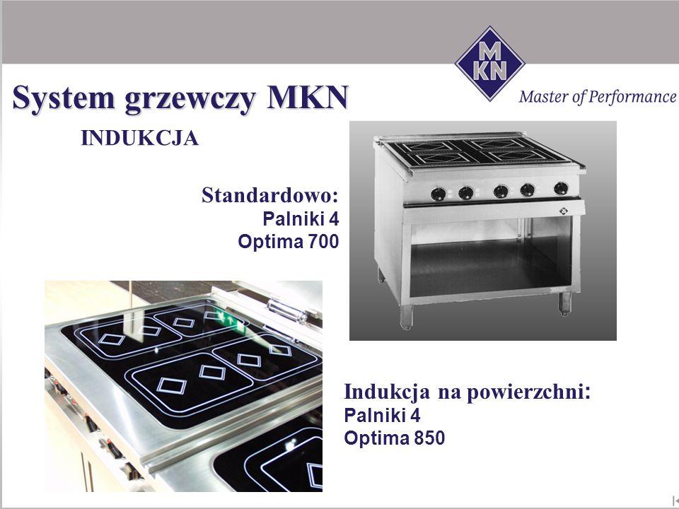 Standardowo: Palniki 4 Optima 700 Indukcja na powierzchni: Palniki 4 Optima 850 INDUKCJA System grzewczy MKN
