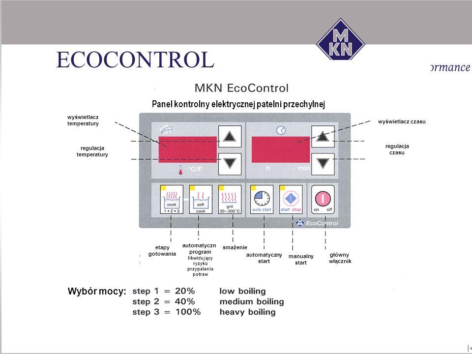 Panel kontrolny elektrycznej patelni przechylnej etapy gotowania automatyczny program likwidujący ryzyko przypalenia potraw smażenie automatyczny star