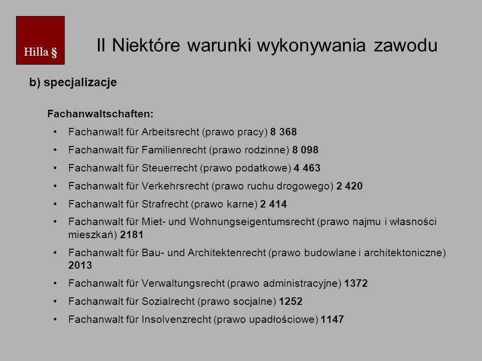 II Niektóre warunki wykonywania zawodu Fachanwalt für Erbrecht (prawo spadkowe) 1076 Fachanwalt für Medizinrecht (prawo medyczne) 916 Fachanwalt für Versicherungsrecht (prawo ubezpieczeń) 883 Fachanwalt für Handels- und Gesellschaftsrecht (prawo handlowe i spółek)734 Fachanwalt für Gewerblicher Rechtsschutz (prawo własności przemysłowej) 543 Fachanwalt für Bank- und Kapitalmarktrecht (prawo bankowe i rynków kapitałowych) 372 Fachanwalt für Informationstechnologierecht (prawo informatyczne) 190 Fachanwalt für Transport- und Speditionsrecht (prawo transportowe i spedycyjne) 134 Fachanwalt für Urheber- und Medienrecht (prawo autorskie i mediów) 121 Fachanwalt für Agrarrecht (prawo rolne) 48 - na dzień 1.