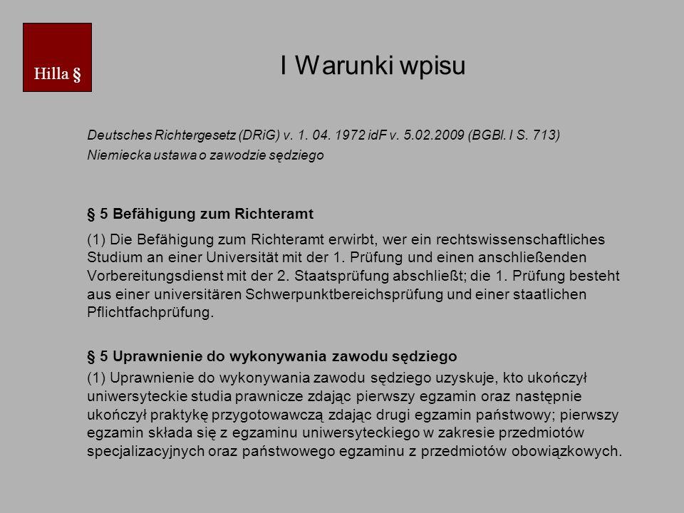 I Warunki wpisu Deutsches Richtergesetz (DRiG) v.1.