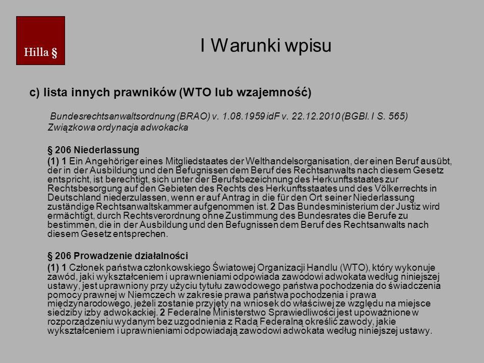 I Warunki wpisu § 206 c.d.
