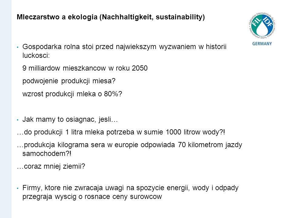 Mleczarstwo a ekologia (Nachhaltigkeit, sustainability) Gospodarka rolna stoi przed najwiekszym wyzwaniem w historii luckosci: 9 milliardow mieszkanco