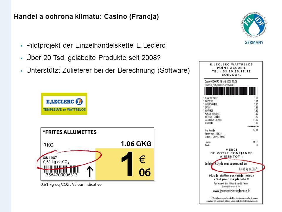 Handel a ochrona klimatu: Casino (Francja) Pilotprojekt der Einzelhandelskette E.Leclerc Über 20 Tsd. gelabelte Produkte seit 2008? Unterstützt Zulief