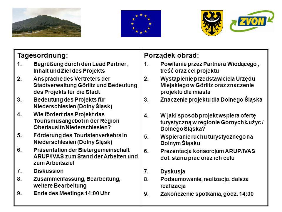 Tagesordnung: 1.Begrüßung durch den Lead Partner, Inhalt und Ziel des Projekts 2.Ansprache des Vertreters der Stadtverwaltung Görlitz und Bedeutung de