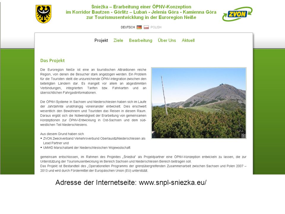 Adresse der Internetseite: www.snpl-sniezka.eu/