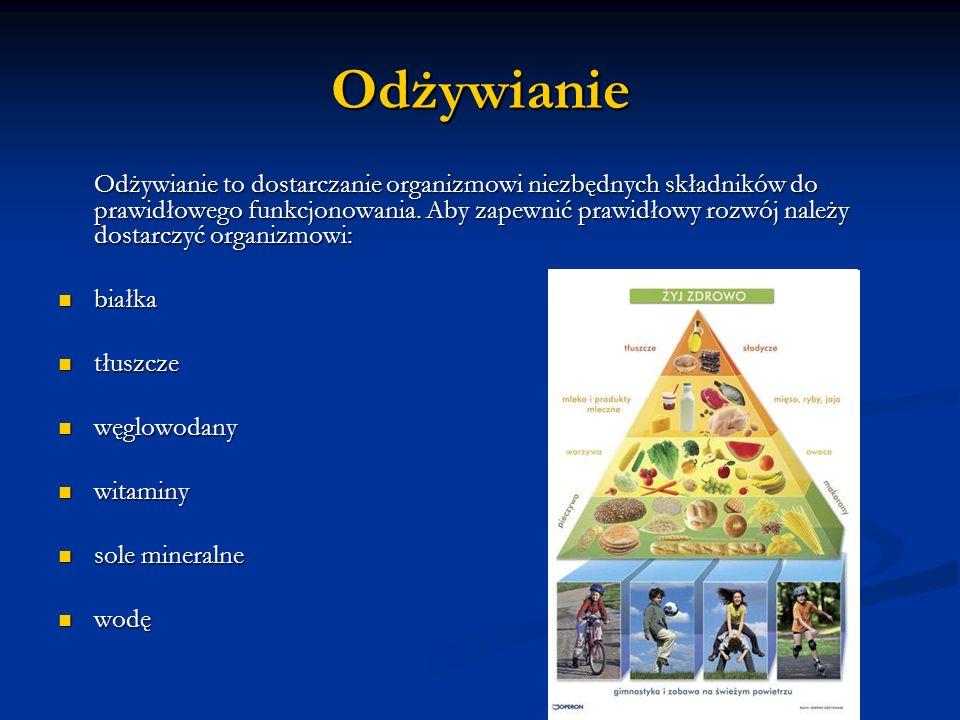 Odżywianie Odżywianie to dostarczanie organizmowi niezbędnych składników do prawidłowego funkcjonowania. Aby zapewnić prawidłowy rozwój należy dostarc