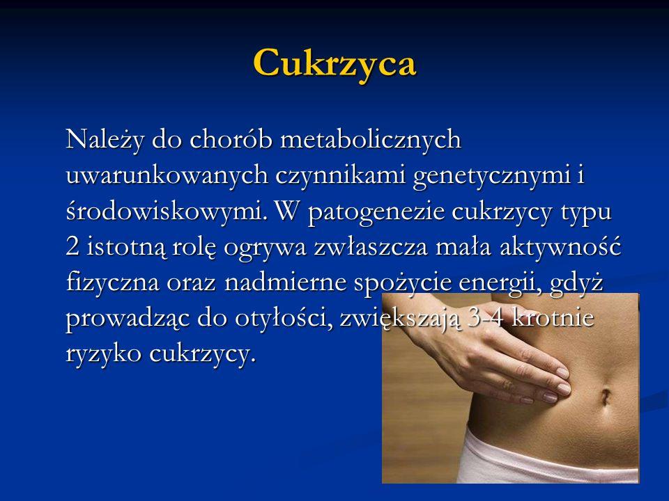Cukrzyca Należy do chorób metabolicznych uwarunkowanych czynnikami genetycznymi i środowiskowymi. W patogenezie cukrzycy typu 2 istotną rolę ogrywa zw