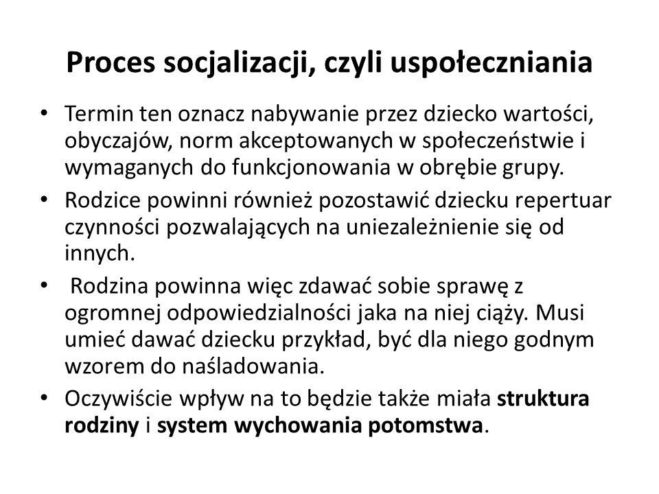 Proces socjalizacji, czyli uspołeczniania Termin ten oznacz nabywanie przez dziecko wartości, obyczajów, norm akceptowanych w społeczeństwie i wymaganych do funkcjonowania w obrębie grupy.