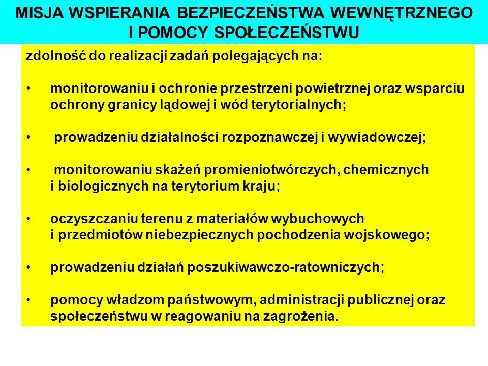 STRATEGICZNE CELE RP W DZIEDZINIE OBRONNOŚCI - cechuje je duża siła ognia, manewrowość i odporność na uderzenia przeciwnika, szerokie wykorzystanie nowoczesnych technik prowadzenia walki oraz wielopłaszczyznowe współdziałanie z pozostałymi rodzajami sił zbrojnych -są przygotowane do realizacji zadań wynikających z międzynarodowych zobowiązań Polski, związanych z zapewnieniem bezpieczeństwa, pełnieniem misji pokojowych i humanitarnych, a także w akcjach związanych z likwidacją klęsk żywiołowych WOJSKA LĄDOWE