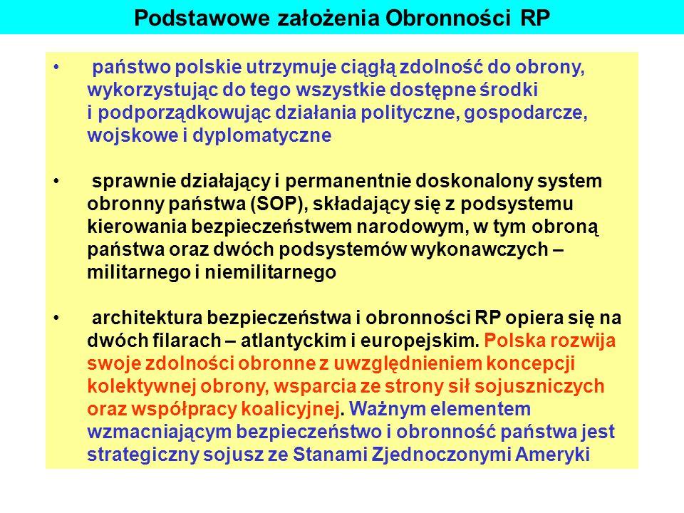 Podstawowe założenia Obronności RP państwo polskie utrzymuje ciągłą zdolność do obrony, wykorzystując do tego wszystkie dostępne środki i podporządkow