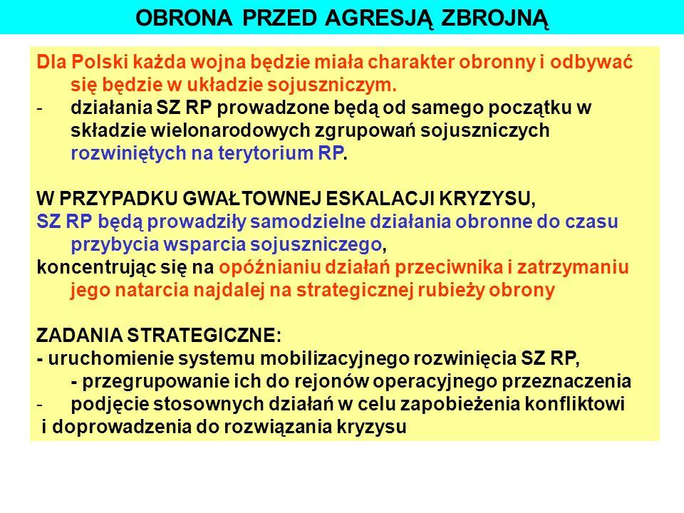 OBRONA PRZED AGRESJĄ ZBROJNĄ Dla Polski każda wojna będzie miała charakter obronny i odbywać się będzie w układzie sojuszniczym. -działania SZ RP prow