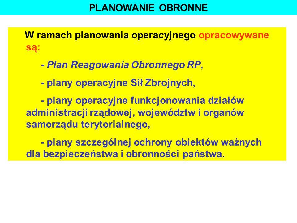 PLANOWANIE OBRONNE W ramach planowania operacyjnego opracowywane są: - Plan Reagowania Obronnego RP, - plany operacyjne Sił Zbrojnych, - plany operacy