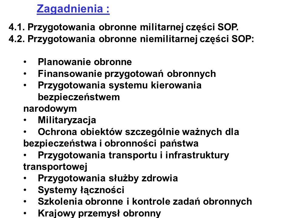 Zagadnienia : 4.1. Przygotowania obronne militarnej części SOP. 4.2. Przygotowania obronne niemilitarnej części SOP: Planowanie obronne Finansowanie p