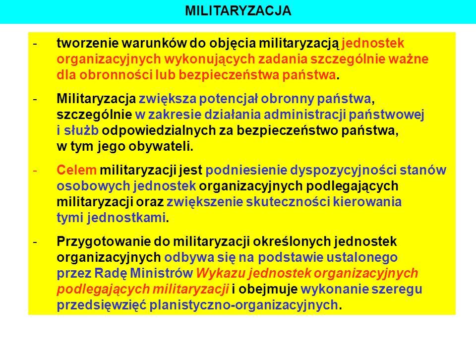 STRATEGICZNE CELE RP W DZIEDZINIE OBRONNOŚCI -tworzenie warunków do objęcia militaryzacją jednostek organizacyjnych wykonujących zadania szczególnie w