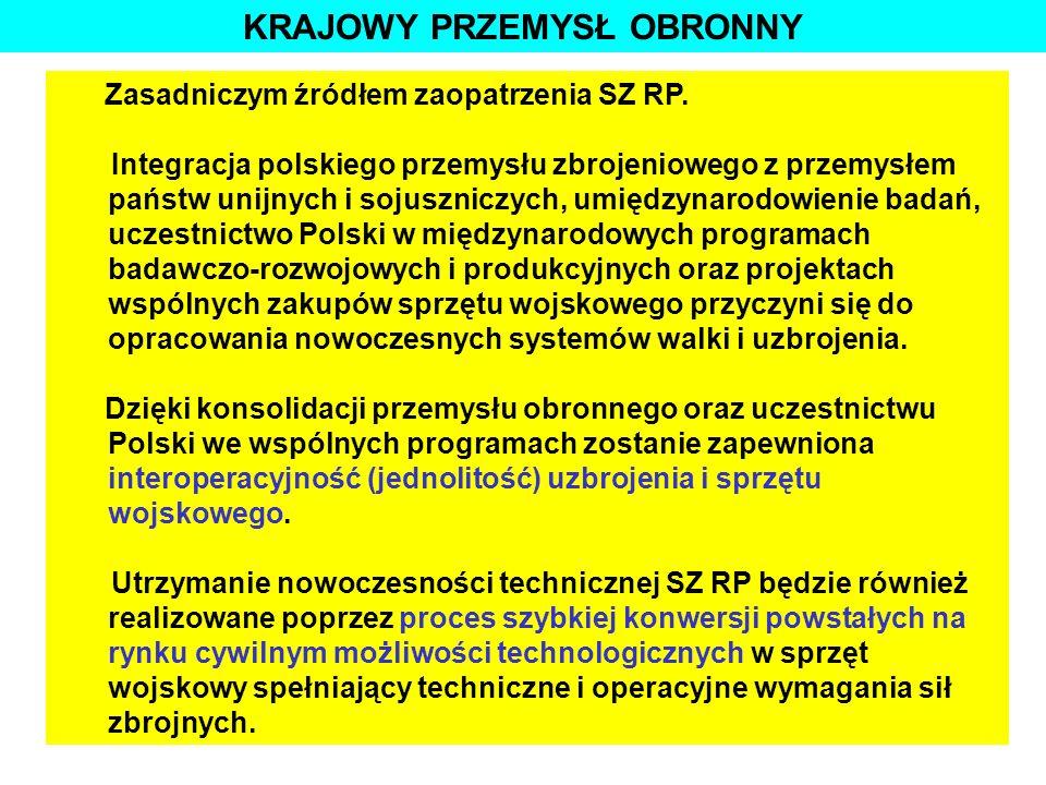 STRATEGICZNE CELE RP W DZIEDZINIE OBRONNOŚCI Zasadniczym źródłem zaopatrzenia SZ RP. Integracja polskiego przemysłu zbrojeniowego z przemysłem państw
