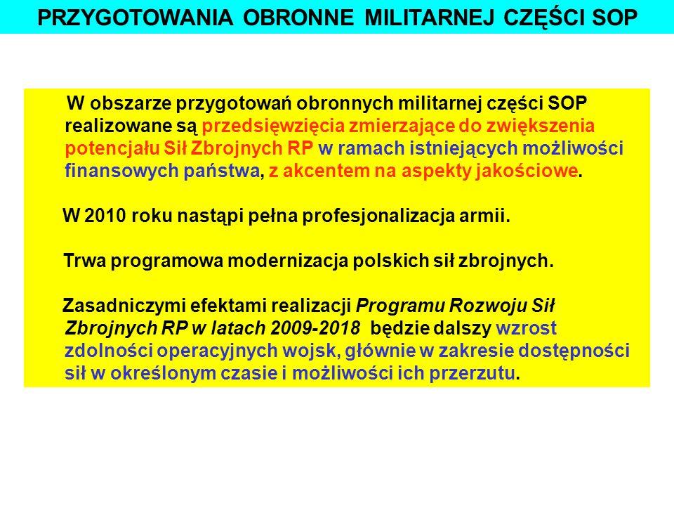 PRZYGOTOWANIA OBRONNE MILITARNEJ CZĘŚCI SOP W obszarze przygotowań obronnych militarnej części SOP realizowane są przedsięwzięcia zmierzające do zwięk