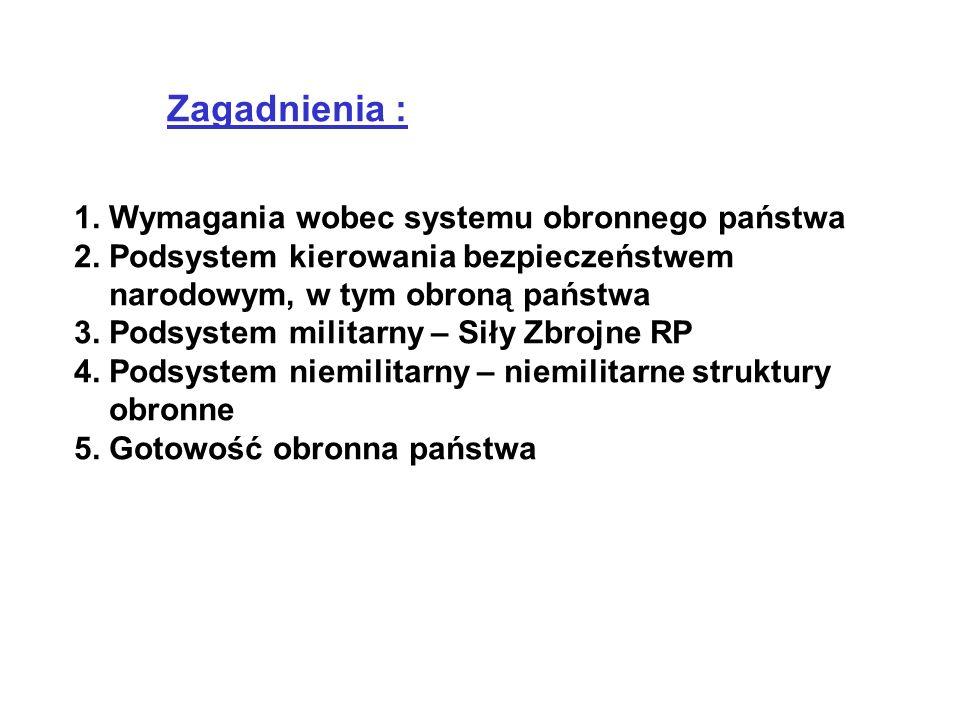 Zagadnienia : 1.Wymagania wobec systemu obronnego państwa 2.