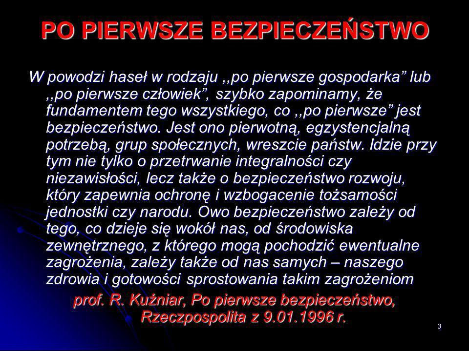 24 PODSTAWY BEZPIECZEŃSTW POLSKI BEZPIECZEŃSTWA POLSKI NIE MOŻNA PLANOWAĆ NA MIARĘ SZCZĘŚLIWYCH PRZYPADKÓW.