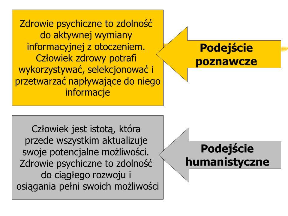 Zdrowie psychiczne to zdolność do aktywnej wymiany informacyjnej z otoczeniem. Człowiek zdrowy potrafi wykorzystywać, selekcjonować i przetwarzać napł