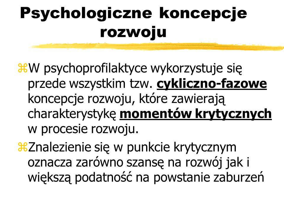 Psychologiczne koncepcje rozwoju zW psychoprofilaktyce wykorzystuje się przede wszystkim tzw. cykliczno-fazowe koncepcje rozwoju, które zawierają char