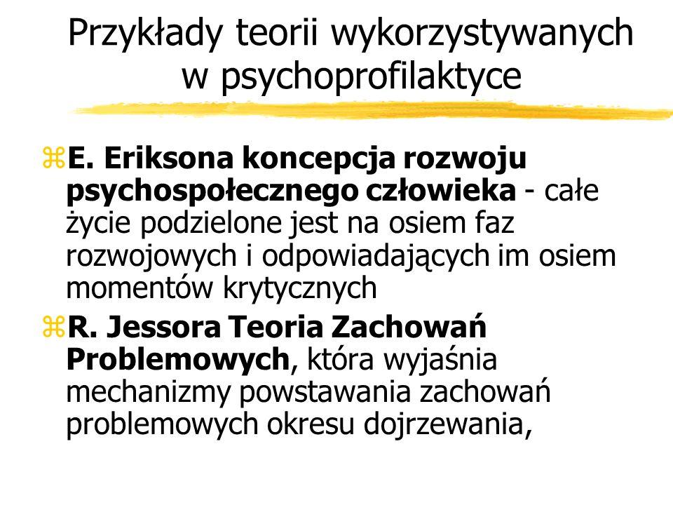 Przykłady teorii wykorzystywanych w psychoprofilaktyce zE. Eriksona koncepcja rozwoju psychospołecznego człowieka - całe życie podzielone jest na osie