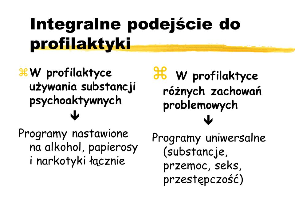 Integralne podejście do profilaktyki W profilaktyce używania substancji psychoaktywnych Programy nastawione na alkohol, papierosy i narkotyki łącznie