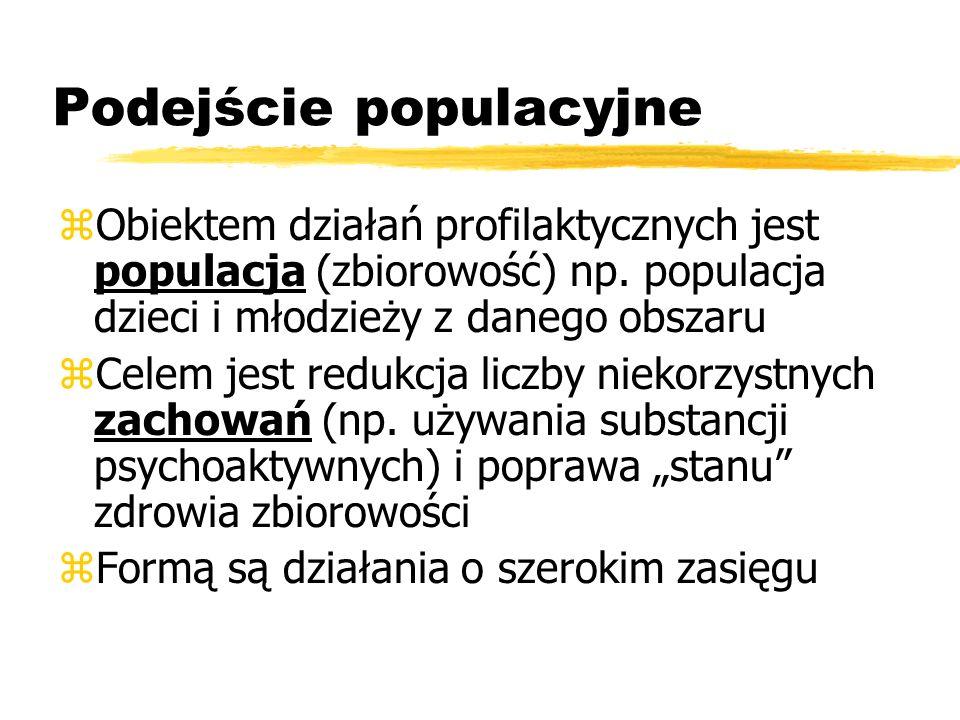 Podejście populacyjne zObiektem działań profilaktycznych jest populacja (zbiorowość) np. populacja dzieci i młodzieży z danego obszaru zCelem jest red