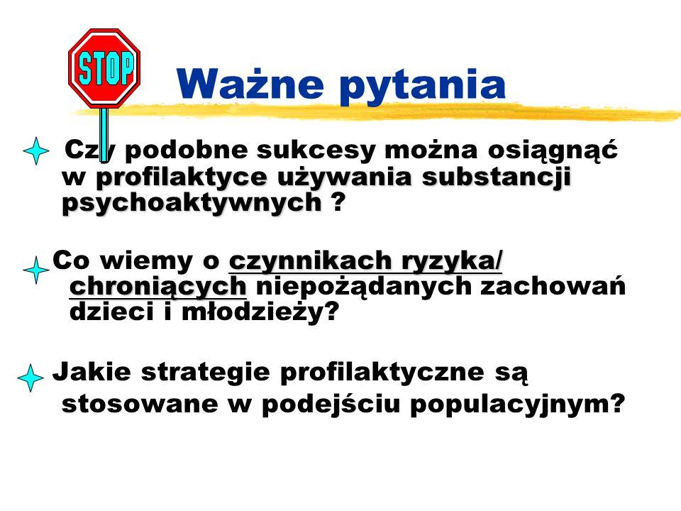 Ważne pytania Czy podobne sukcesy można osiągnąć profilaktyce używania substancji w profilaktyce używania substancji psychoaktywnych psychoaktywnych ?