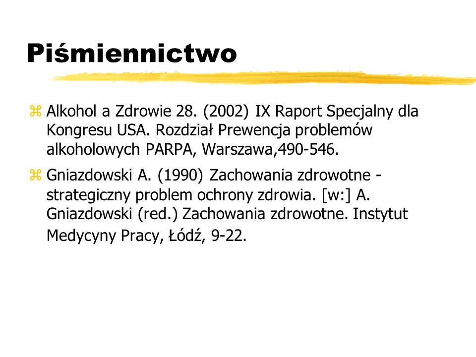Piśmiennictwo zAlkohol a Zdrowie 28. (2002) IX Raport Specjalny dla Kongresu USA. Rozdział Prewencja problemów alkoholowych PARPA, Warszawa,490-546. z