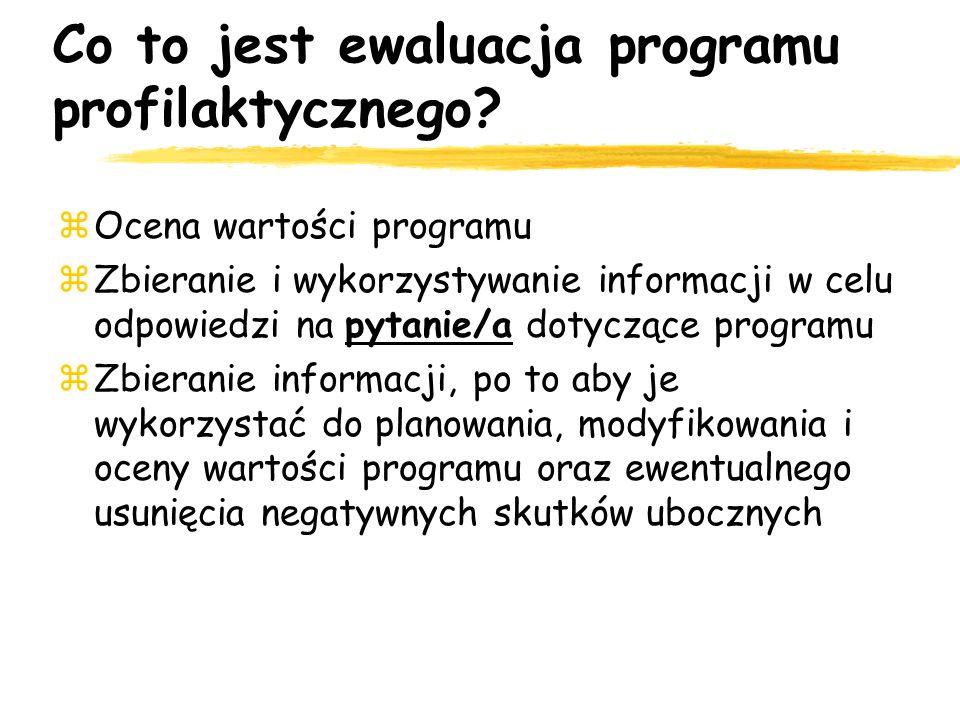 Co to jest ewaluacja programu profilaktycznego? Ocena wartości programu Zbieranie i wykorzystywanie informacji w celu odpowiedzi na pytanie/a dotycząc