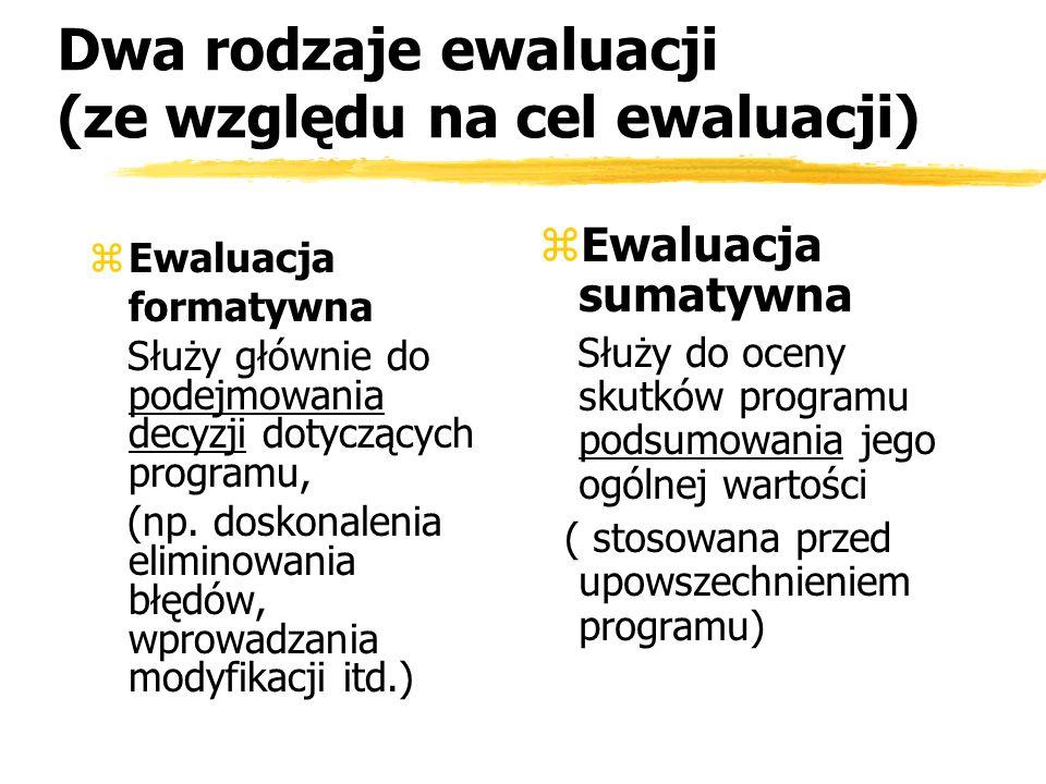 Dwa rodzaje ewaluacji (ze względu na cel ewaluacji) zEwaluacja formatywna Służy głównie do podejmowania decyzji dotyczących programu, (np. doskonaleni