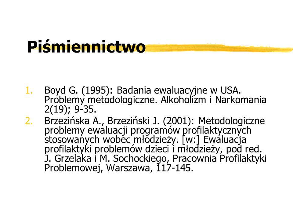 Piśmiennictwo 1.Boyd G. (1995): Badania ewaluacyjne w USA. Problemy metodologiczne. Alkoholizm i Narkomania 2(19); 9-35. 2.Brzezińska A., Brzeziński J