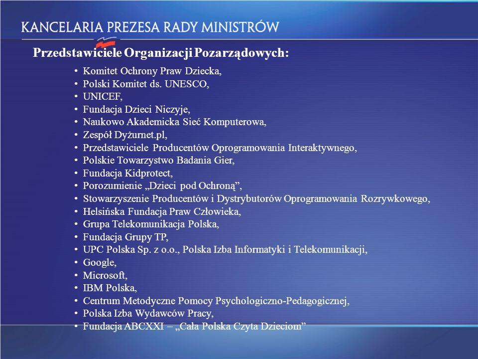 Przedstawiciele Organizacji Pozarządowych: Komitet Ochrony Praw Dziecka, Polski Komitet ds. UNESCO, UNICEF, Fundacja Dzieci Niczyje, Naukowo Akademick