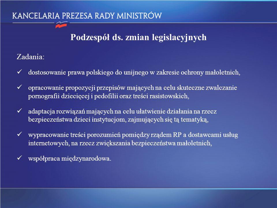 Podzespół ds. zmian legislacyjnych Zadania: dostosowanie prawa polskiego do unijnego w zakresie ochrony małoletnich, opracowanie propozycji przepisów