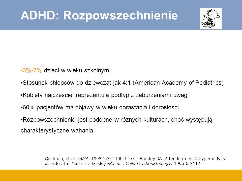 ADHD: Rozpowszechnienie 3%-7% dzieci w wieku szkolnym Stosunek chłopców do dziewcząt jak 4:1 (American Academy of Pediatrics) Kobiety najczęściej repr