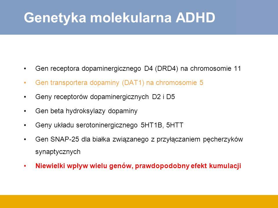 Genetyka molekularna ADHD Gen receptora dopaminergicznego D4 (DRD4) na chromosomie 11 Gen transportera dopaminy (DAT1) na chromosomie 5 Geny receptoró