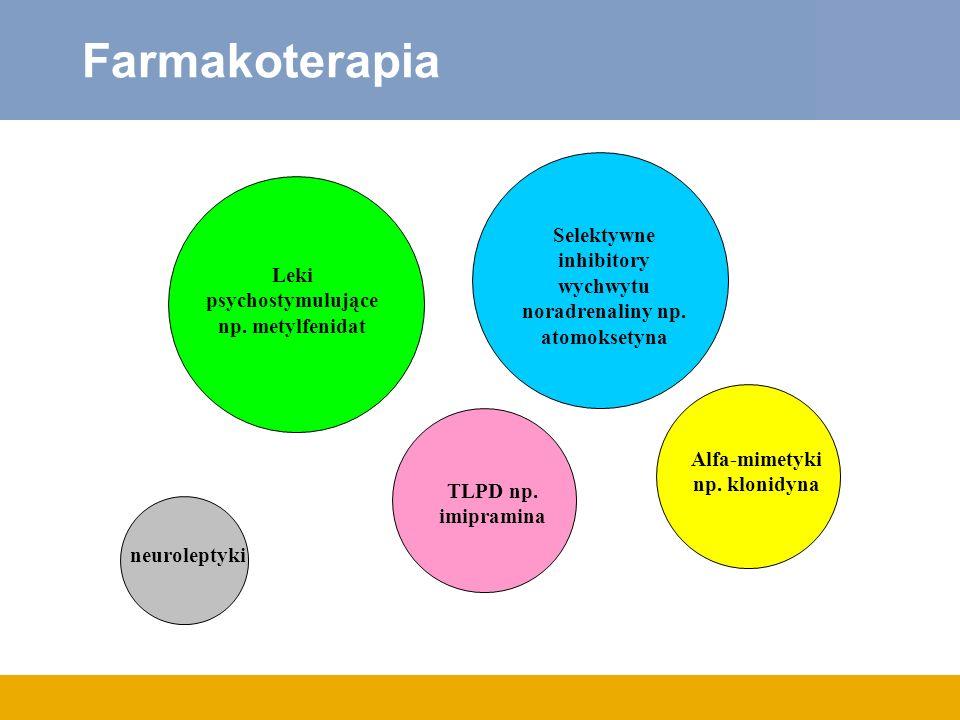 Farmakoterapia Leki psychostymulujące np. metylfenidat Selektywne inhibitory wychwytu noradrenaliny np. atomoksetyna TLPD np. imipramina Alfa-mimetyki