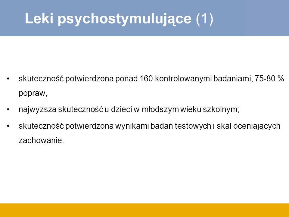 Leki psychostymulujące (1) skuteczność potwierdzona ponad 160 kontrolowanymi badaniami, 75-80 % popraw, najwyższa skuteczność u dzieci w młodszym wiek